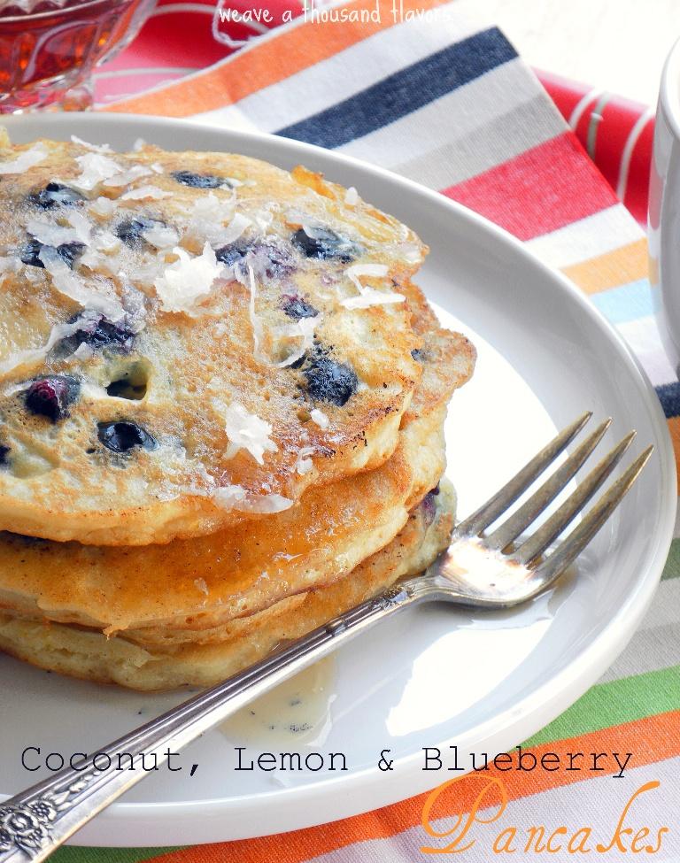 Coconut, lemon & bluberry pancakes2