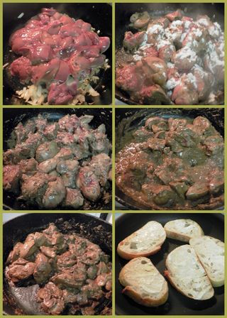 Chicken livers on toast - Saute livers