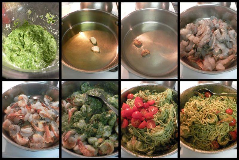 Pasta Prawns with Pistachio Pesto -collage2
