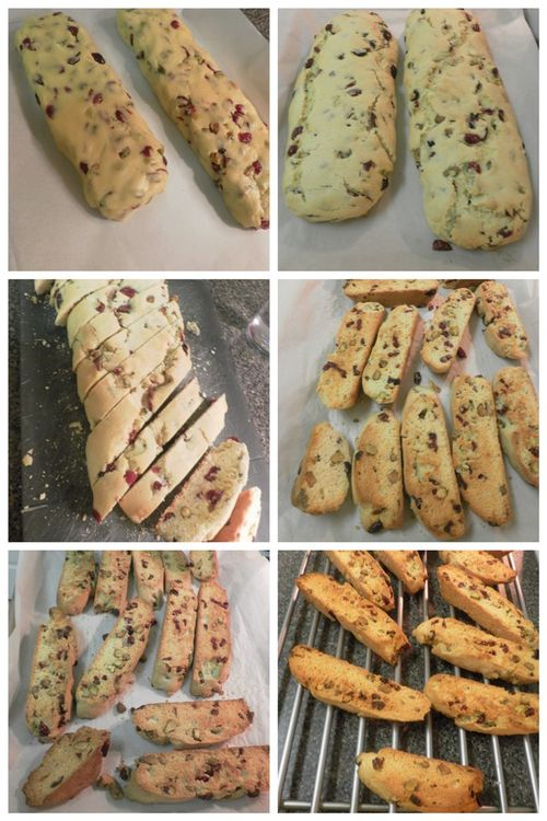Lemon, pistachio, cranberry biscotti-collage3