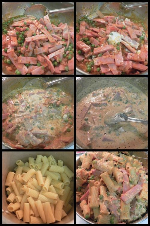 Rigatoni with ham and peas-collage3