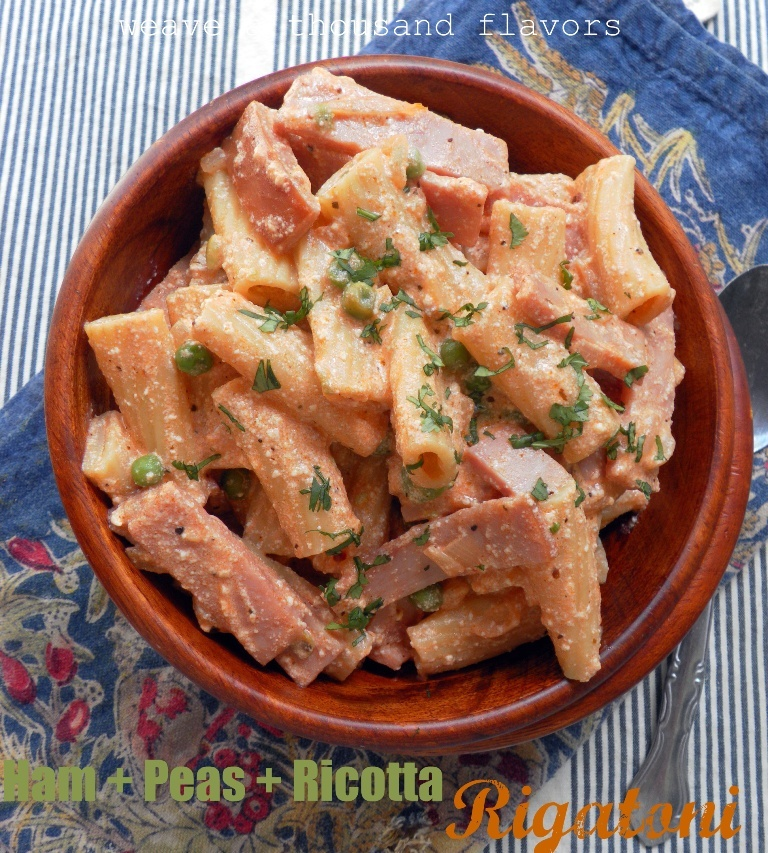 Rigatoni with Ham, Peas and Ricotta-a