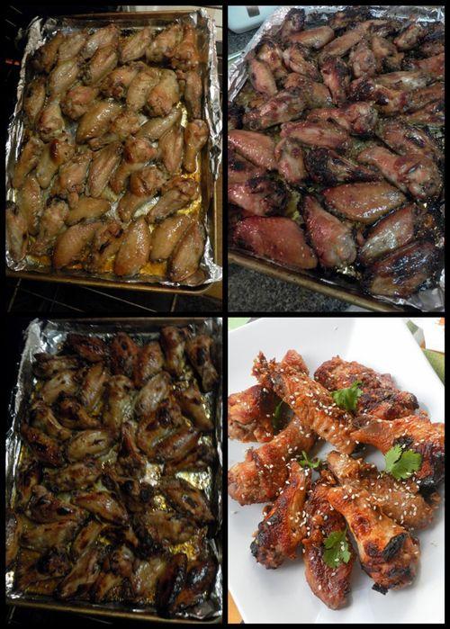 Honey, Lemon and sesame chicken wings - collage4