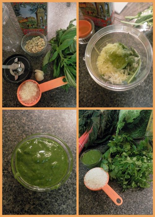 Greens, Rice  & Pesto soup-collage1