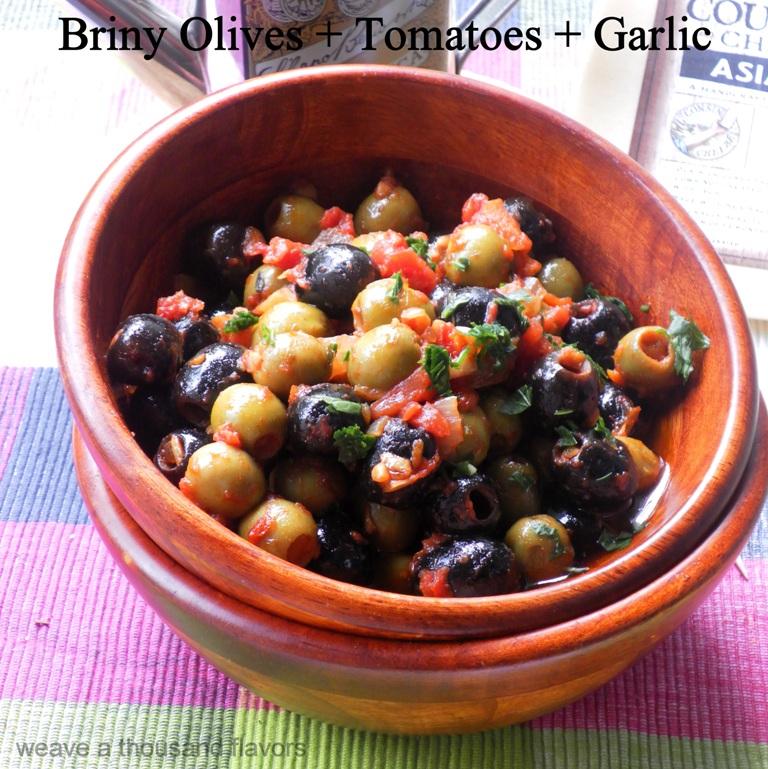 Briny olives, tomatoes, garlic-02
