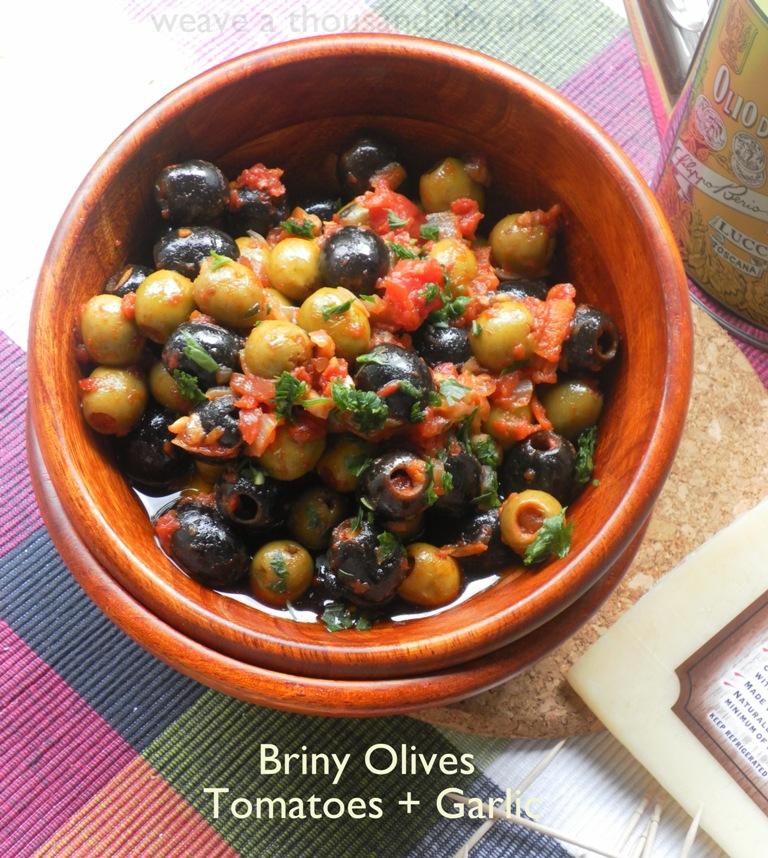 Briny olives, tomatoes, garlic-01