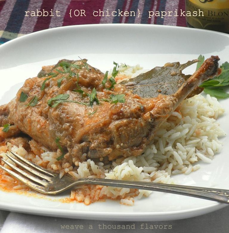 Rabbit chicken paprikash